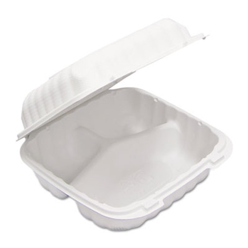 Pactiv EarthChoice SmartLock Hinged Lid Containers  3 Compartment  8 38 x 5 38 x 3 1  22 oz  White  200 Carton (PCTYCN80803)