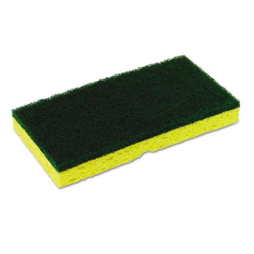 ContinentalA Medium-Duty Sponge N' Scrubber, 3 3/8 x 6 1/4, Yellow/Green, 3/PK, 8 PK/CT (CMC74H)