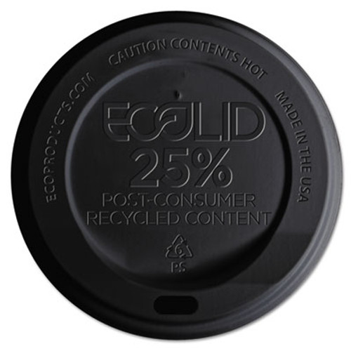 Eco-Products EcoLid 25  Recy Content Hot Cup Lid  Black  F 10-20oz  100 PK  10 PK CT (ECOEPHL16BR)