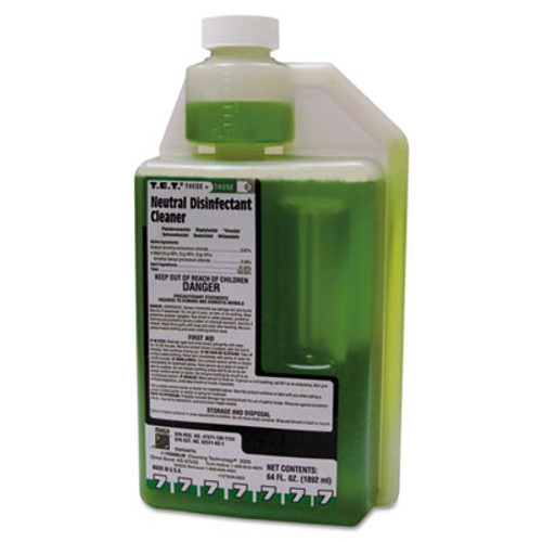 Franklin Cleaning Technology T.E.T. Neutral Disinfectant Cleaner, Apple Scent, Liquid, 2 qt. Bottle, 4/Carton (FKLF377628)