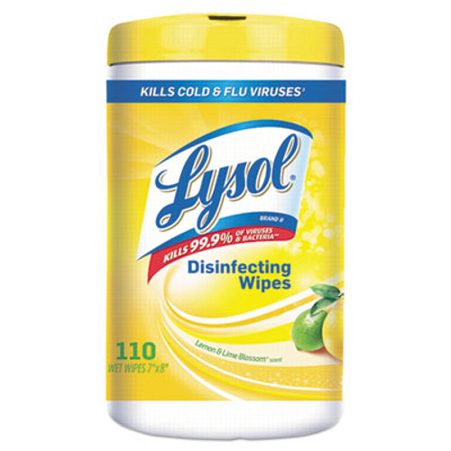 LYSOL Brand Disinfecting Wipes  7 x 8  Lemon and Lime Blossom  110 Wipes Canister (RAC78849EA)