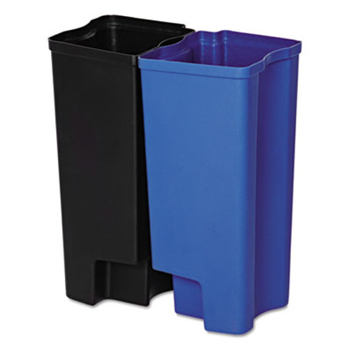 Rubbermaid Commercial Step-On Rigid Dual Liner for Stainless End Step  Plastic  8 gal  Black Blue (RCP1902007)