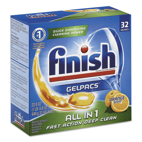 FINISH Dish Detergent Gelpacs  Orange Scent  Box of 32 Gelpacs  8 Boxes Carton (RAC81053CT)