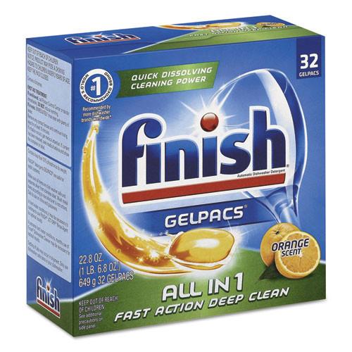 FINISH Dish Detergent Gelpacs  Orange Scent  Box of 32 Gelpacs  8 Boxes Carton (RAC81053CT)