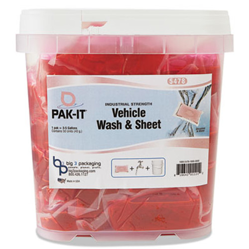 PAK-IT Vehicle Wash & Sheet, Pink, 50 PAK-ITs/Tub, 4 Tubs/Carton (BIG5478203200CT)
