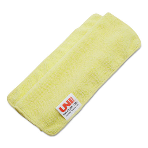 Boardwalk Lightweight Microfiber Cleaning Cloths  Yellow  16 x 16  24 Pack (BWK16YELCLOTH)