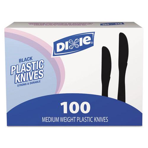 Dixie Plastic Tableware  Heavy Mediumweight Knives  Black  100 Box  10 Boxes Carton (DXEKM507CT)
