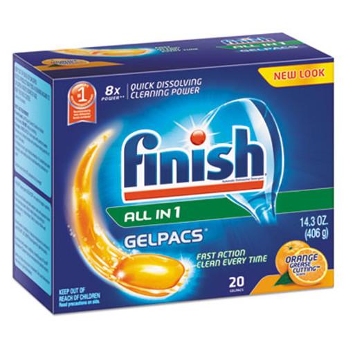 FINISH Dish Detergent Gelpacs, Orange Scent, 20 Gelpacs/Box, 8 Boxes/Carton (RAC76491CT)