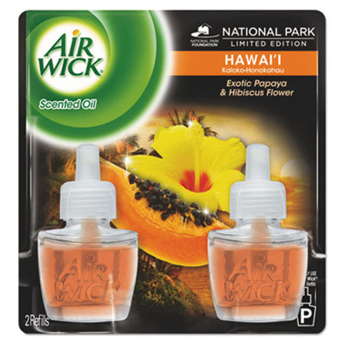 Air Wick Scented Oil Twin Refill  Hawai'i Exotic Papaya Hibiscus Flower  0 67 oz  6 Carton (RAC85175CT)