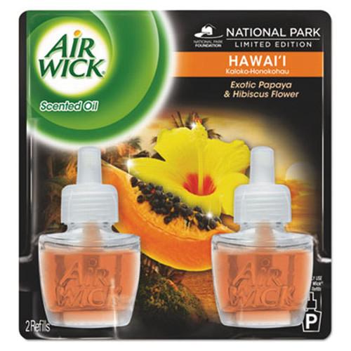 Air Wick Scented Oil Twin Refill  Hawai'i Exotic Papaya Hibiscus Flower  0 67 oz  6 Carton (RAC85175CT)