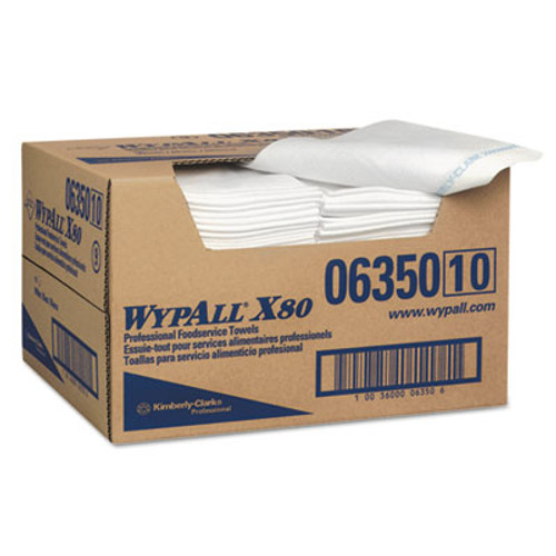 WypAll* X80 Foodservice Paper Towel, 13 1/2 x 24, Blue/White, 150/Carton (KCC06350)
