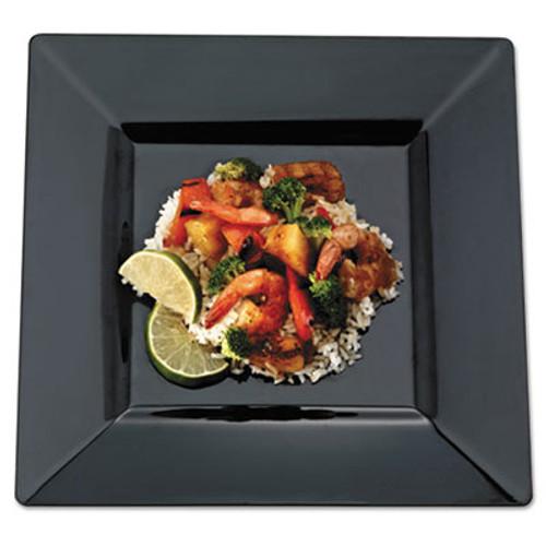 EMI Yoshi Squares Dinnerware, Plate, Plastic, 10 3/4 x 10 3/4, Black, 10/PK, 12 PK/CT (EMISP11BLK)