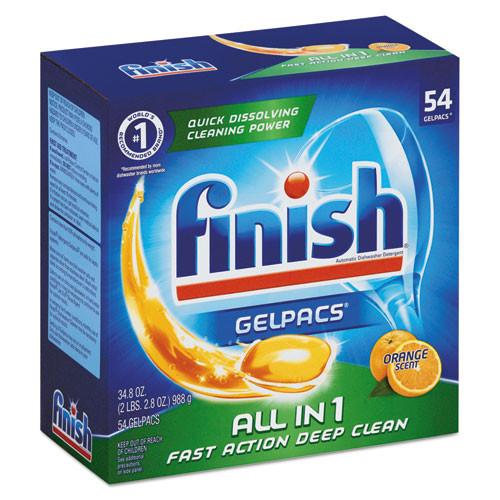 FINISH Dish Detergent Gelpacs  Orange Scent  54 Box  4 Boxes Carton (RAC81181CT)