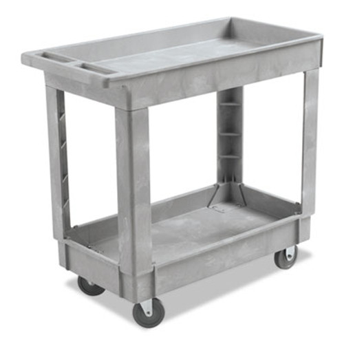 Boardwalk Utility Cart  Two-Shelf  16w x 34d  Swivel Casters  Resin  Gray (BWK3416UCGRA)