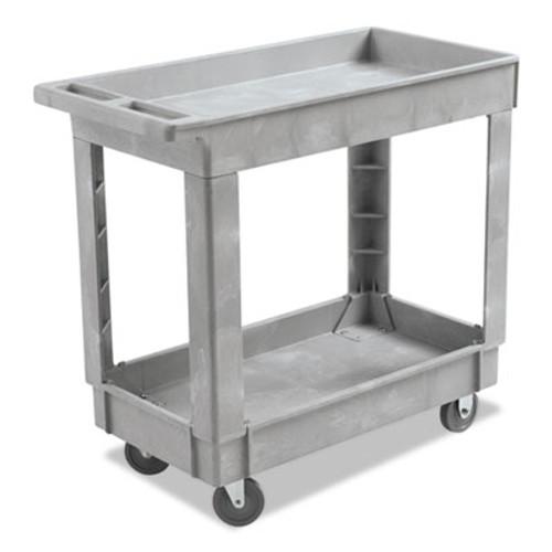 Boardwalk Utility Cart  Two-Shelf  16w x 34d  Swivel Casters  Resin  Gray (BWK3416UCGRA)