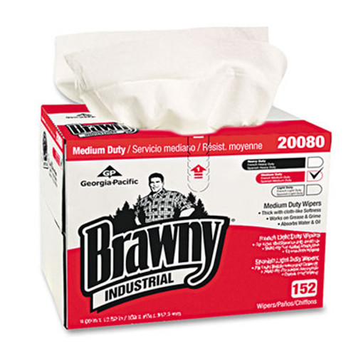Georgia Pacific Professional Brawny Industrial Premium DRC Wipes  Paper  12-1 2 x 16-3 4  White  152 Box (GPC2008003)