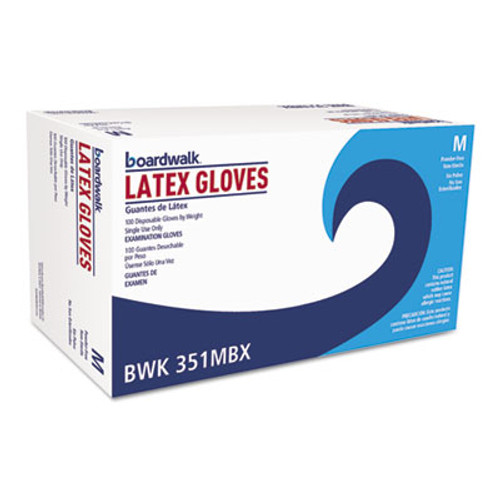 Boardwalk Powder-Free Latex Exam Gloves, Medium, Natural, 4 4/5 mil, 1000/Carton (BWK351MCT)