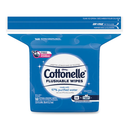 Cottonelle Fresh Care Flushable Cleansing Cloths  White  5x7 1 4  168 Pack 8 Pack Carton (KCC10358CT)