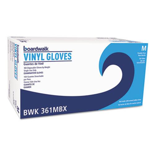 Boardwalk Exam Vinyl Gloves, Clear, Medium, 3 3/5 mil, 1000/Carton (BWK361MCT)