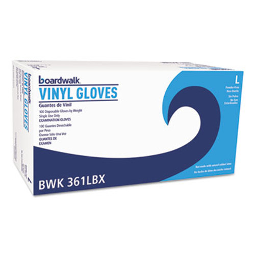 Boardwalk Exam Vinyl Gloves  Clear  Large  3 3 5 mil  1000 Carton (BWK361LCT)