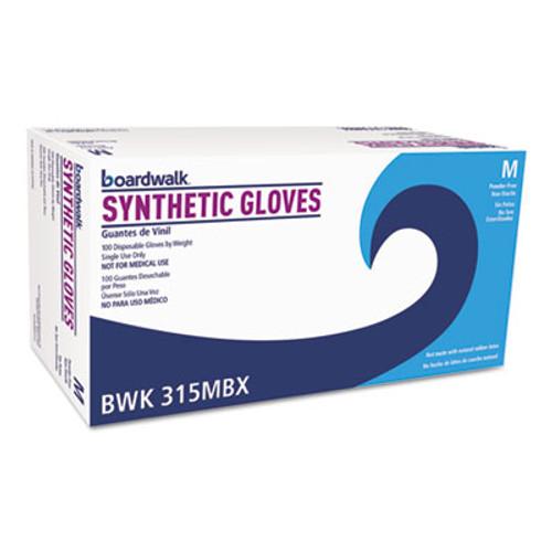 Boardwalk Powder-Free Synthetic Vinyl Gloves, Medium, Beige, 4 mil, 100/Box (BWK315MBX)