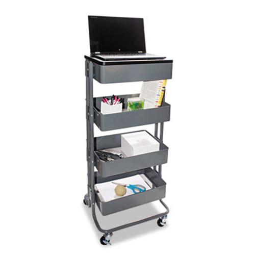 Vertiflex Multi-Use Storage Cart Stand-Up Workstation  15 25w x 11 25d x 18 5 to 39h  Gray (VRTVF51025)