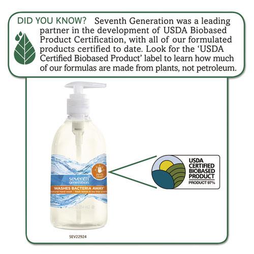 Seventh Generation Natural Hand Wash  Purely Clean  Fresh Lemon   Tea Tree  12 oz Pump Bottle  8 CT (SEV22924)