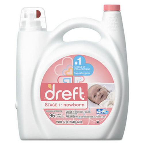Dreft Ultra Laundry Detergent  Liquid  Baby Powder Scent  150 oz Bottle  4 Carton (PGC80377CT)