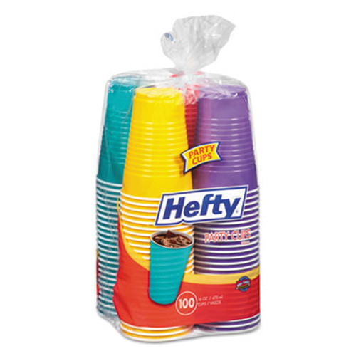 Hefty Easy Grip Disposable Plastic Party Cups  16 oz  Assorted  100 Pack  4Pk Carton (RFPC21637CT)