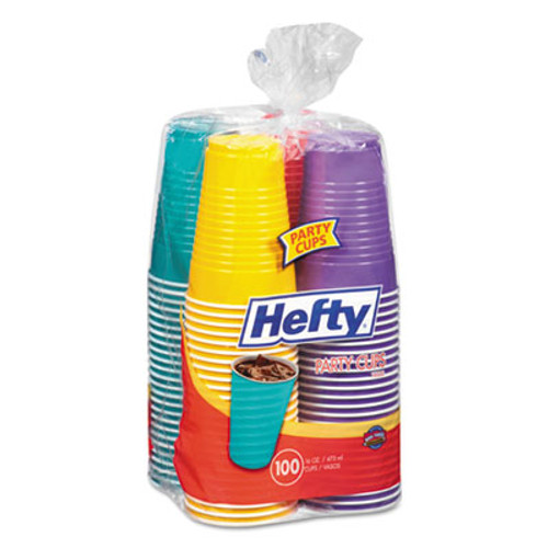Hefty Easy Grip Disposable Plastic Party Cups  16 oz  Assorted  100 Pack (RFPC21637)