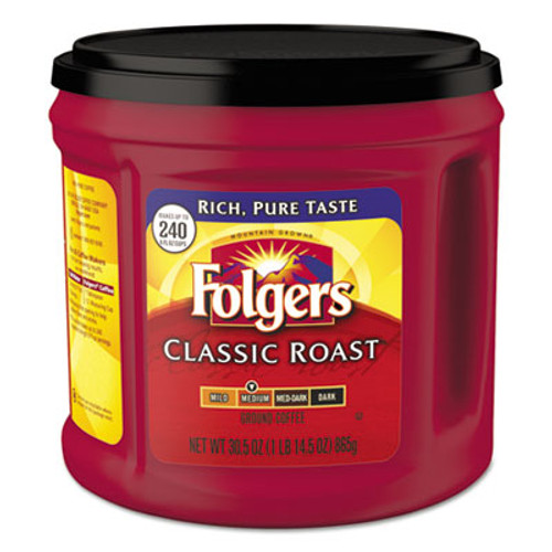 Folgers Coffee, Classic Roast, Ground, 30.5 oz Canister (FOL20421EA)