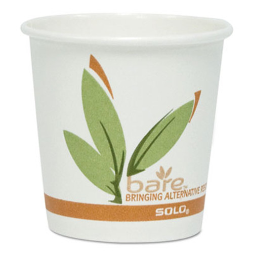 Dart Bare by Solo Eco-Forward Recycled Content PCF Paper Hot Cups  4 oz  1 000 Carton (SCC374RC)