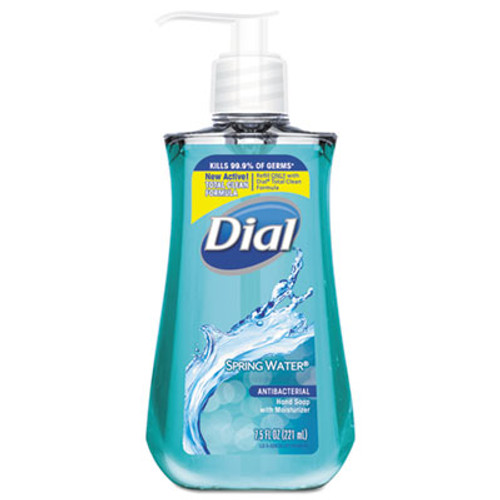 Dial Antibacterial Liquid Hand Soap  Spring Water  7 5 oz Bottle  12 Carton (DIA02670CT)