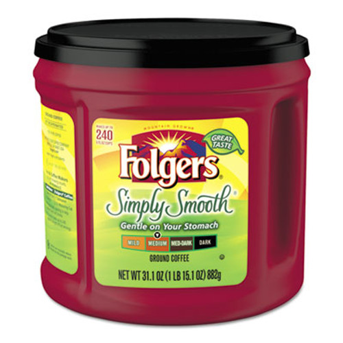 Folgers Coffee  Simply Smooth  31 1 oz Canister  6 Carton (FOL20513CT)
