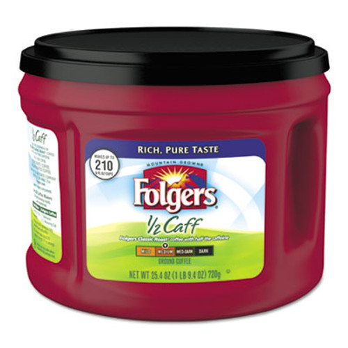Folgers Coffee  Half Caff  25 4 oz Canister  6 Carton (FOL20527CT)
