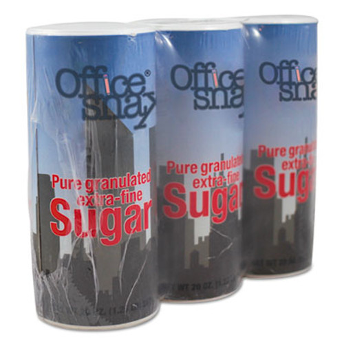Office Snax Reclosable Canister of Sugar  20 oz  3 Pack (OFX00019G)