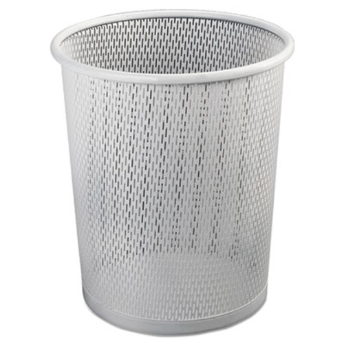 "Artistic Urban Collection Punched Metal Wastebin, 20.24 oz, Steel, White Satin, 9""Dia (AOPART20017WH)"