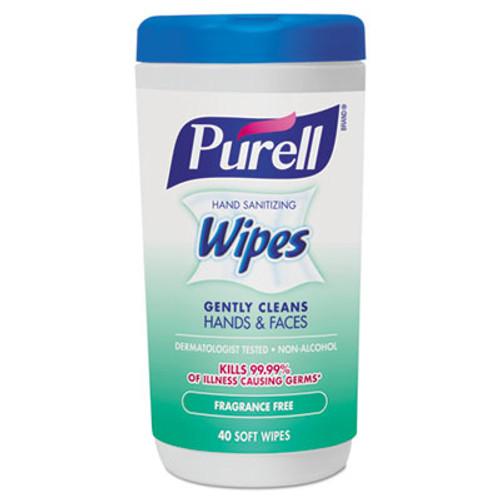 PURELL Hand Sanitizing Wipes, 5 7/10 x 7 1/2, Fragrance Free, 40/Canister (GOJ912106CMREA)