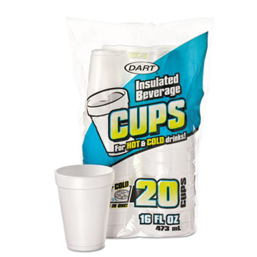 Dart Large Foam Drink Cup, 16 oz, Hot/Cold, White, 20/Bag, 12 Bag/Carton (DCC16FP20)