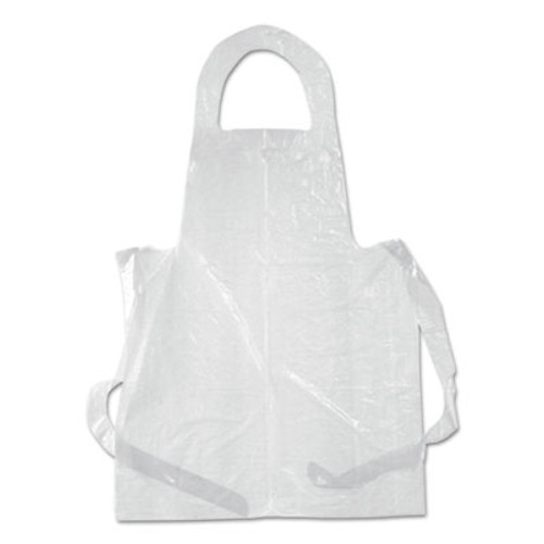 Boardwalk Poly Apron, White, Polyethylene, 28 in. x 55 in., One Size Fits All, 100/Pack (BWKDAK2855)