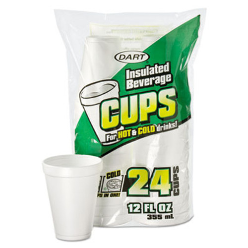 Dart Small Foam Drink Cup, 12 oz, Hot/Cold, White, 24/Bag, 24 Bag/Carton (DCC12JP24)