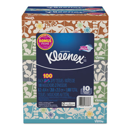 "Kleenex Everyday Tissues, White, 8.2"" x 8.4"", 100/Box, 10 Box/Pack (KCC37378)"