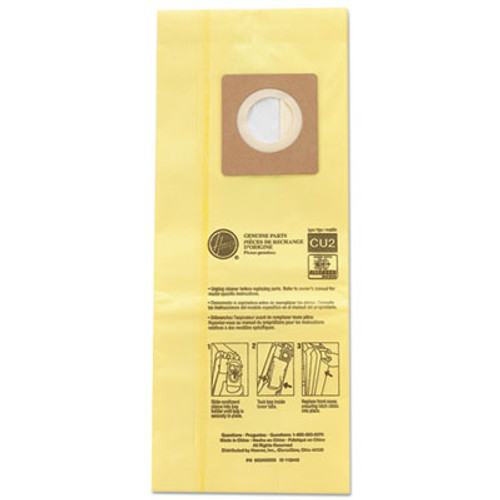 Hoover Commercial HushTone Vacuum Bags  Yellow  10PK EA (HVRAH10243)