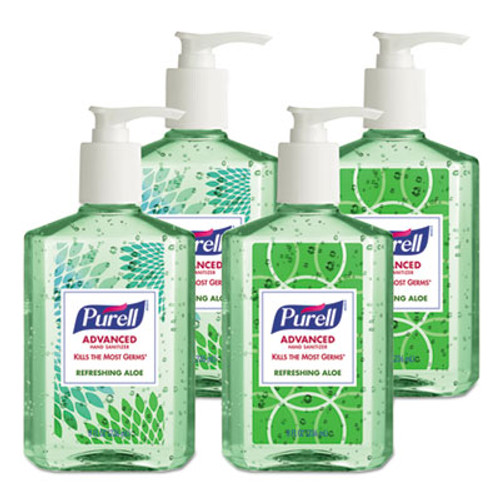 PURELL Advanced Instant Hand Sanitizer with Aloe, 8 oz Bottle, 4/Pack (GOJ967406DECOPK)