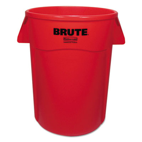 Rubbermaid Commercial Brute Vented Trash Receptacle  Round  44 gal  Red  4 Carton (RCP264360REDCT)