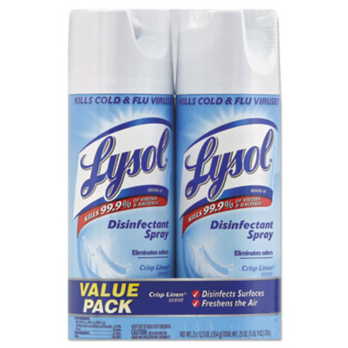 LYSOL Brand Disinfectant Spray, Crisp Linen, 12.5 oz Aerosol, 2/Pack (RAC89946PK)