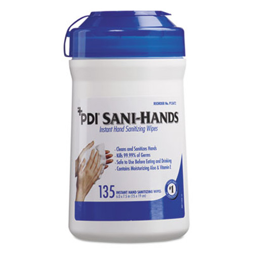 Sani Professional Sani-Hands ALC Instant Hand Sanitizing Wipes  7 5x6  White  135 Canister 12 Ctn (NICP13472)