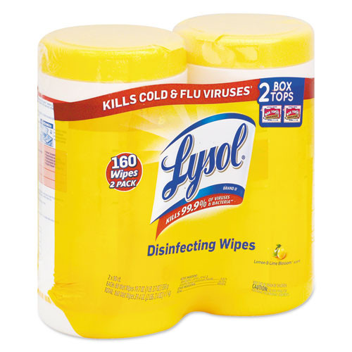 LYSOL Brand Disinfecting Wipes  7 x 8  Lemon and Lime Blossom  80 Wipes Canister  2 Canisters Pack (RAC80296PK)