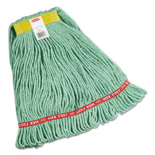 "Rubbermaid Commercial Web Foot Wet Mops, Cotton/Synthetic, Green, Small, 1""Yellow Headband,6/Carton (RCPA111GRE)"
