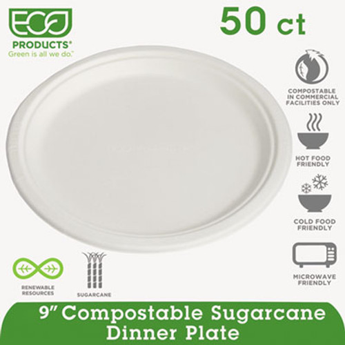 "Eco-Products Renewable/Compostable Sugarcane Plates Convenience Pack, 9"", 50/PK, 10 PK/CT (ECOEPP013PKCT)"